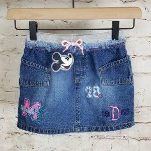 Disneyland Mickey Patch & Embroidered Denim Skirt